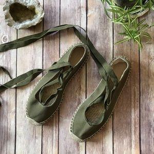 JCrew olive green ankle tie espadrilles.
